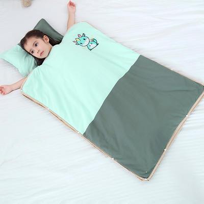 2019新款-水洗棉防踢睡袋(睡袋外套含枕套)模特图 薄荷小龙60*80
