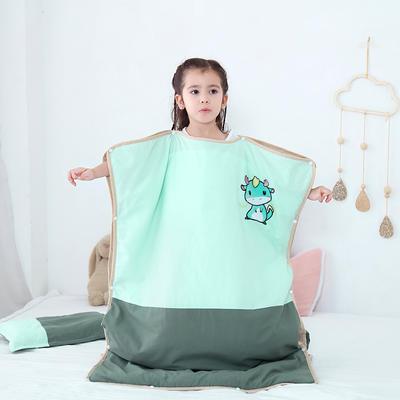 2019新款-水洗棉防踢睡袋(睡袋外套含枕套)模特图 薄荷小龙65*100