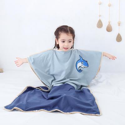 2019新款-水洗棉防踢睡袋(睡袋外套含枕套)模特图 耍帅鲨鱼75*120