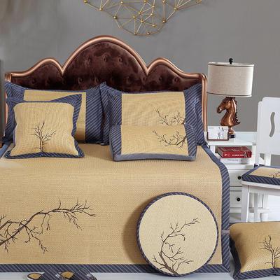 牛氏席铺 轻居系列 刺绣印尼藤席 1.5m(5英尺)床 枝兰玉树
