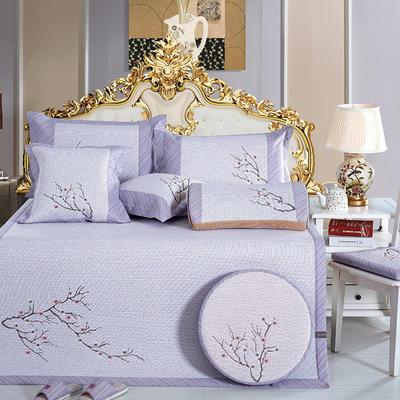 牛氏席铺 轻居系列 刺绣印尼藤席 1.5m(5英尺)床 梅开三度