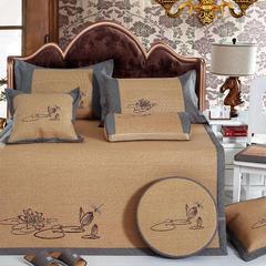 牛氏席铺 轻居系列 刺绣印尼藤席 1.5m(5英尺)床 含苞欲放