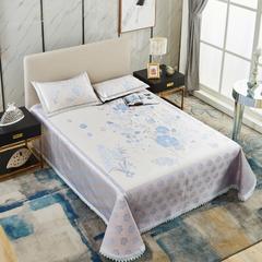 牛氏席铺 水洗床单席 可机洗 冰丝席 冰丝凉席 三件套 1.8m(6英尺)床 花飞蝶舞-蓝