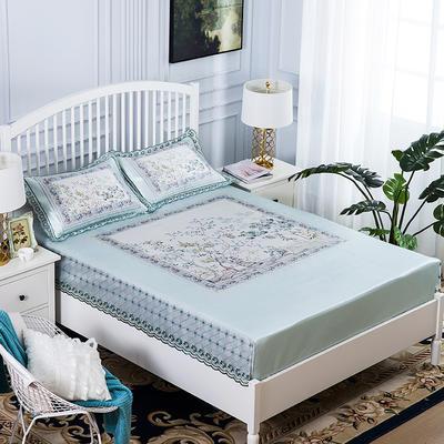 2019牛氏席铺 高端水洗机洗床包冰丝席 冰丝凉席 三件套 1.5m(5英尺)床 风起长林-蓝