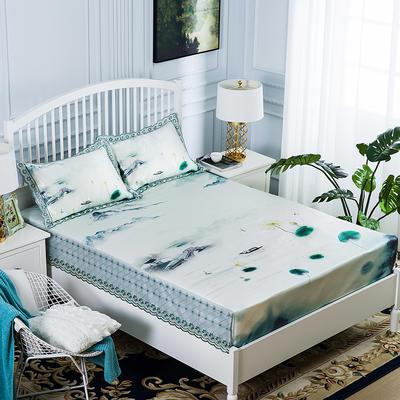 2019牛氏席铺 高端水洗机洗床包冰丝席 冰丝凉席 三件套 1.5m(5英尺)床 烟波琉璃