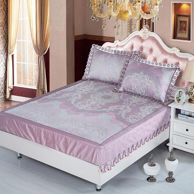 2019牛氏席铺 高端水洗机洗床包冰丝席 冰丝凉席 三件套 1.5m(5英尺)床 梦曼-紫