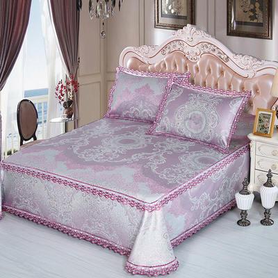 牛氏席铺 高端水洗机洗床笠床单冰丝席 冰丝凉席 三件套 1.5m(5英尺)床 梦曼-紫床单