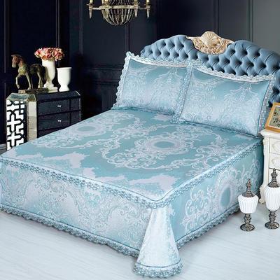 牛氏席铺 高端水洗机洗床笠床单冰丝席 冰丝凉席 三件套 1.5m(5英尺)床 梦曼-绿床单