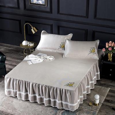2019牛氏席铺冰丝床裙 冰丝席 凉席套件 凉席三件套 1.5m(5英尺)床 豆沙床裙