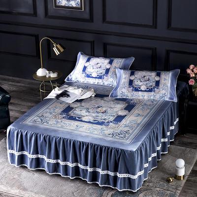 2019牛氏席铺冰丝床裙 冰丝席 凉席套件 凉席三件套 1.5m(5英尺)床 伊丽莎白床裙