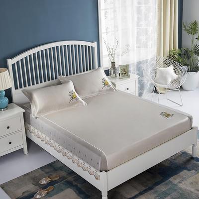 2019牛氏席铺 高端水洗机洗床包冰丝席 冰丝凉席 三件套 1.5m(5英尺)床 豆沙床包