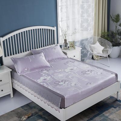 2019牛氏席铺 高端水洗机洗床包冰丝席 冰丝凉席 三件套 1.5m(5英尺)床 心花怒放床包