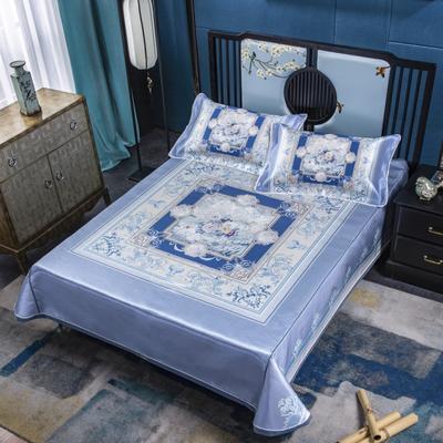 2020牛氏席铺绑带床单 冰丝绳固床单 冰丝凉席 凉席三件套 凉席套件 1.5m(5英尺)床 花锦盛世绑带