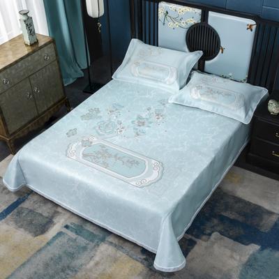 2020牛氏席铺冰丝床单绳固款 高端定位提花类 凉席三件套 冰丝凉席 凉席套件 1.5m(5英尺)床 卡特琳绑带
