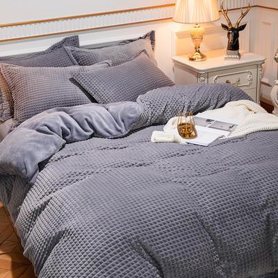 2019新款方格魔幻绒四件套婚庆魔法绒大红法莱绒水晶绒牛奶绒 1.5m(5英尺)床单款 方格魔幻绒-灰色