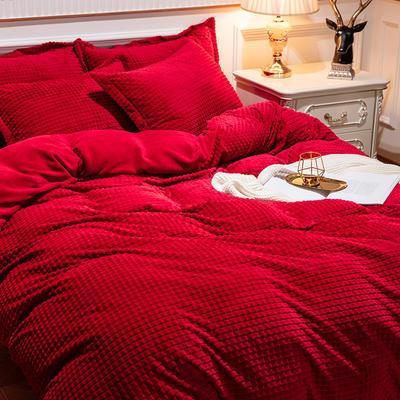 2019新款方格魔幻绒四件套婚庆魔法绒大红法莱绒水晶绒牛奶绒 1.5m(5英尺)床单款 方格魔幻绒-酒红