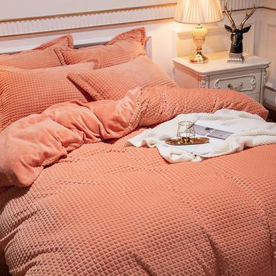2019新款方格魔幻绒四件套婚庆魔法绒大红法莱绒水晶绒牛奶绒 1.8m(6英尺)床单款 方格魔幻绒-橘色