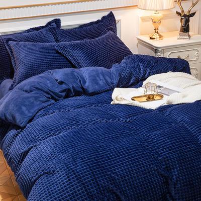 2019新款方格魔幻绒四件套婚庆魔法绒大红法莱绒水晶绒牛奶绒 1.8m(6英尺)床单款 方格魔幻绒-深蓝