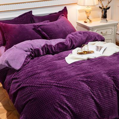 2019新款方格魔幻绒四件套婚庆魔法绒大红法莱绒水晶绒牛奶绒 1.8m(6英尺)床单款 方格魔幻绒-深紫