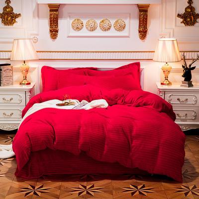 2019新款色织牛奶绒四件套 1.8m(6英尺)床单款 漫时光-大红