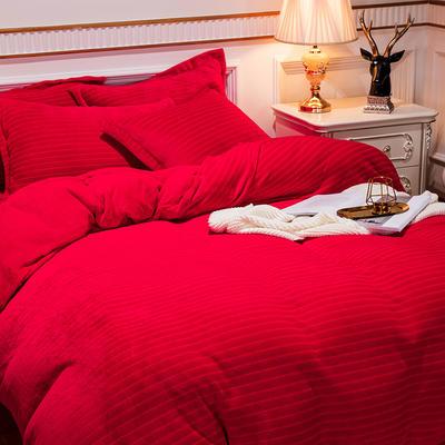 2019新款色织牛奶绒四件套婚庆大红法莱绒水晶绒牛奶绒 1.5m(5英尺)床单款 漫时光-大红