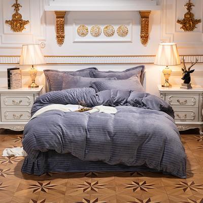2019新款色织牛奶绒四件套 1.8m(6英尺)床单款 漫时光-灰色