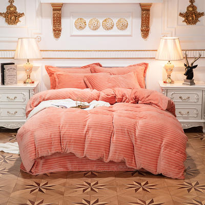 2019新款色织牛奶绒四件套 1.8m(6英尺)床单款 漫时光-橘色