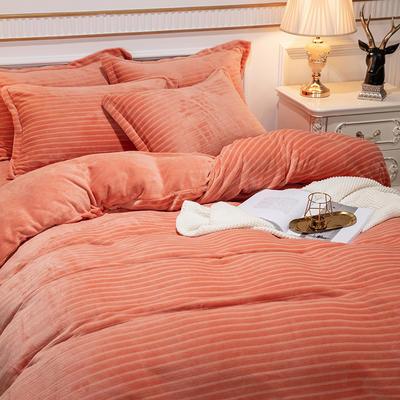2019新款色织牛奶绒四件套婚庆大红法莱绒水晶绒牛奶绒 1.5m(5英尺)床单款 漫时光-橘色