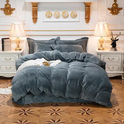 2019新款色织牛奶绒四件套 1.8m(6英尺)床单款 漫时光-墨绿