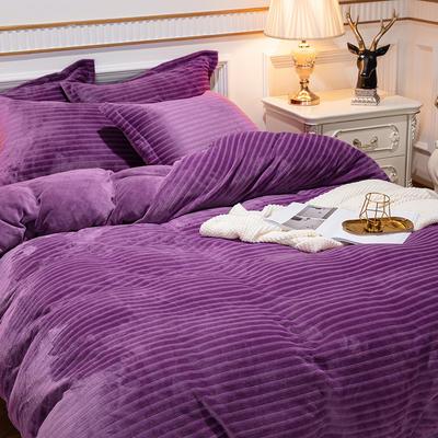 2019新款色织牛奶绒四件套婚庆大红法莱绒水晶绒牛奶绒 1.5m(5英尺)床单款 漫时光-紫色