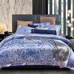 企梦家纺 新款织带提花 标准1.5-1.8米床 时尚风情(蔚蓝)