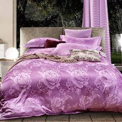 企梦家纺 新款织带提花 标准1.5-1.8米床 幸福花开雪青