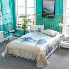 企梦家纺 600D超细纤维软凉席床单款三件套 250x250cm 白夜