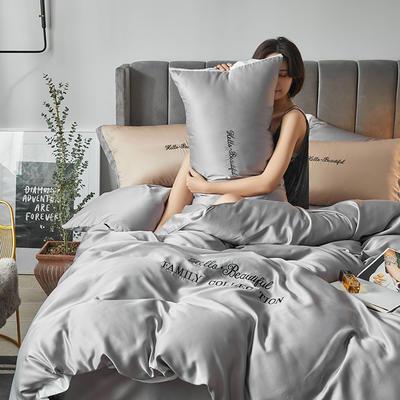 2020新款水洗真丝四件套圣罗兰系列 1.5m(5英尺)床单款 圣罗兰(冰川灰)