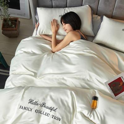 2020新款水洗真丝四件套圣罗兰系列 1.5m(5英尺)床单款 圣罗兰(米白)