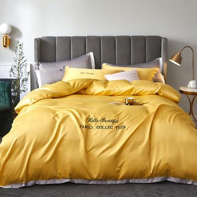 2020新款水洗真丝四件套圣罗兰系列 1.5m(5英尺)床单款 圣罗兰(柠檬黄)