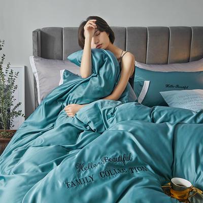 2020新款水洗真丝四件套圣罗兰系列 1.5m(5英尺)床单款 圣罗兰(水绿)