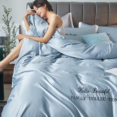 2020新款水洗真丝四件套圣罗兰系列 1.5m(5英尺)床单款 圣罗兰(天空蓝)