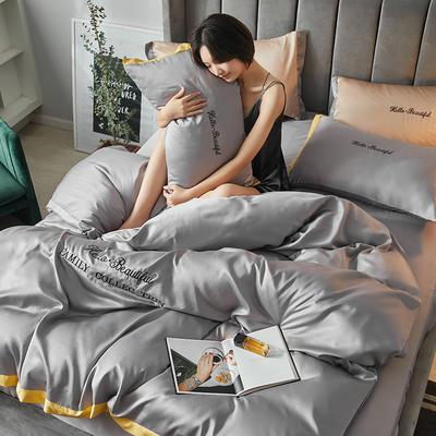2020新款水洗真丝四件套圣罗兰系列 1.5m(5英尺)床单款 圣罗兰(银灰)
