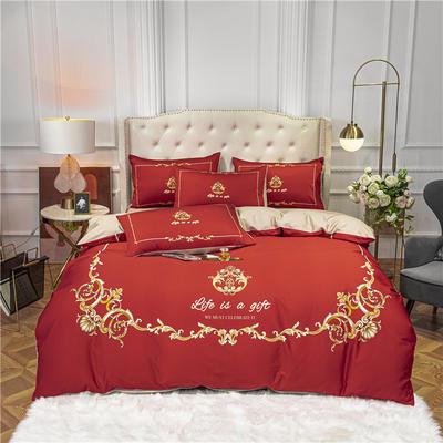 2020新款-贡棉印花四件套 1.8m床单款四件套 夜色流光 红
