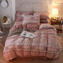 2018新款5D雕花暖绒四件套 1.5m(5英尺)床 粉红KT