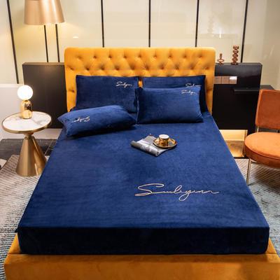 2020新款 牛奶绒珊瑚绒床笠法兰绒冬季水晶绒单件席梦思床垫保护套全包床罩 90cmx200cm 宝石蓝