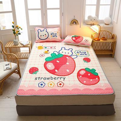 2021新款卡通大版乳胶软席乳胶凉席 150*200  三件套 草莓兔