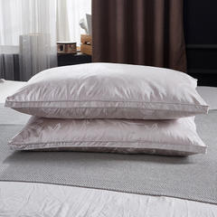 抗日家纺 真丝提花羽绒枕  鹅绒枕头枕芯 银灰色