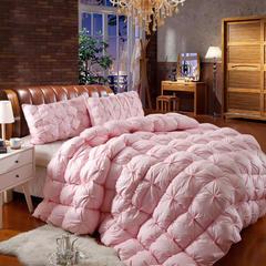 抗日90鸭绒款 全棉柔赛丝扭花羽绒被 鹅绒被冬被子被芯 220x240cm3.4斤 粉色