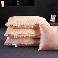 抗日家纺 真丝提花羽绒枕  鹅绒枕头枕芯 白色