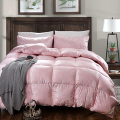 抗日特价款  真丝提花羽绒被 鹅绒被 冬被子被芯 220x240cm8斤 真丝 粉色
