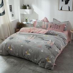北欧法莱绒四件套系列 标准(1.5-1.8m)床 可爱萌兔