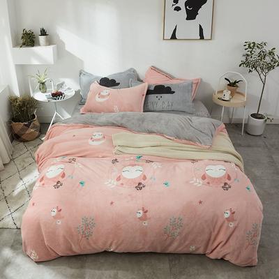 北欧法莱绒四件套系列 标准(1.5-1.8m)床 晚安羽木