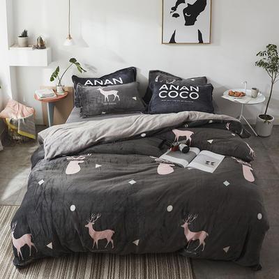 北欧法莱绒四件套系列 标准(1.5-1.8m)床 魅影